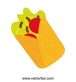 mexican burrito food hand draw style icon