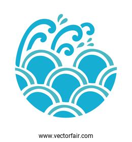water waves ocean flat style icon