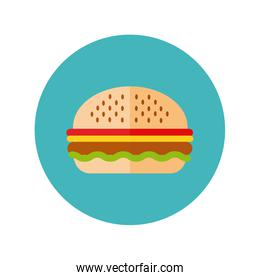 delicious burger fast food block and flat style