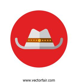hat cowboy american block and flat style