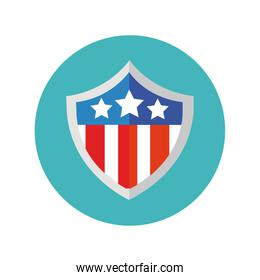 shield with usa flag block and flat style