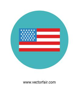 usa flag block and flat style