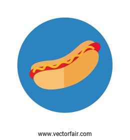 delicious hot dog fast food block and flat style