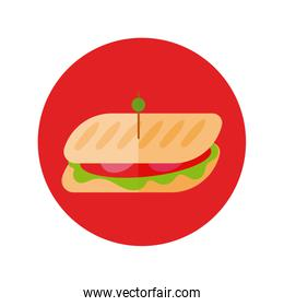 delicious sandwish fast food block and flat style