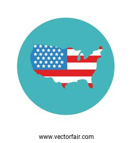 usa map with flag block and flat style
