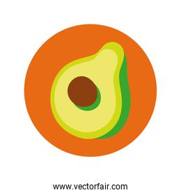 fresh avocado vegetable block and flat style icon