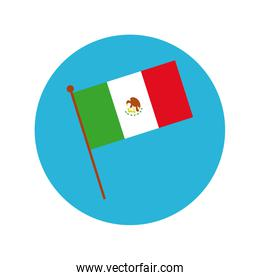 mexican flag block and flat style icon