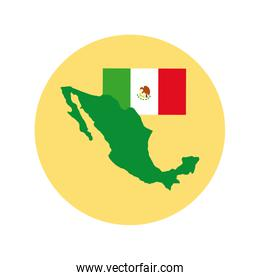 mexican flag and map block and flat style icon