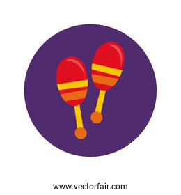 maracas mexican culture block and flat style icon