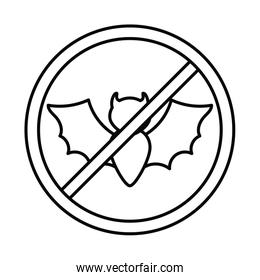 bat with symbol of prohibition, line style icon