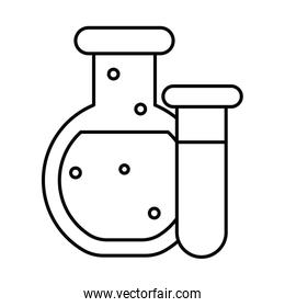 chemical laboratory test tubes, line style icon