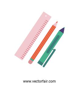 rule with pen and pencil school flat style