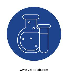 chemical laboratory test tubes, line block style icon