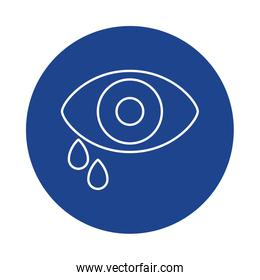 eye with tear, line block style icon