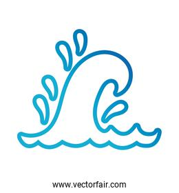 water wave ocean line gradient style icon