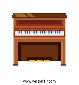 wooden piano on white background