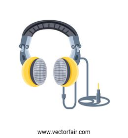 headphones disconnected on white background