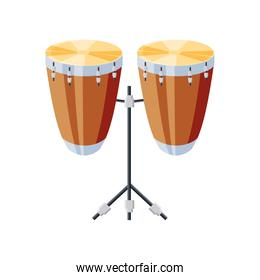 congas drums with tripod on white background