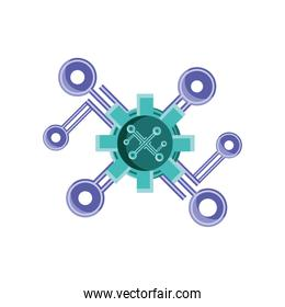 digital gears with connection nodes on white background
