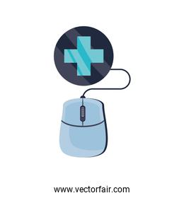online medical, mouse with medical cross