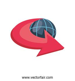 earth globe with moving arrow on white background