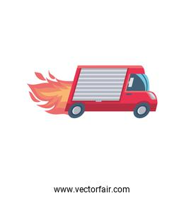 delivery vehicle on fire on white background