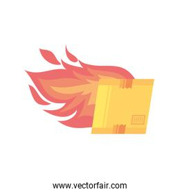 box carton packing with flame on white background