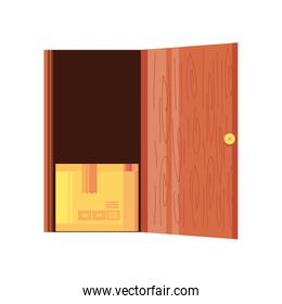 door with delivery box on white background