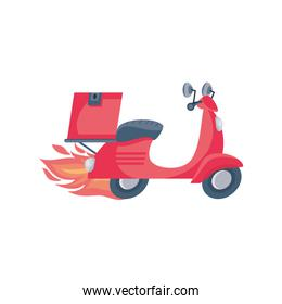 delivery motorcycle on fire in white background