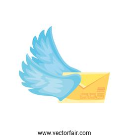 letter envelope with wings on white background