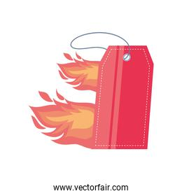 flaming gift tag on white background
