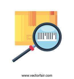 delivery box with magnifying glass on white background