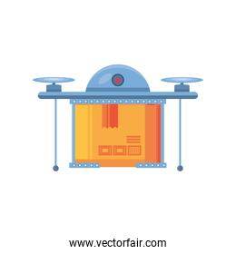 drone with delivery package on white background
