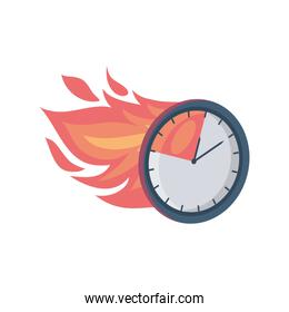clock with fire on white background