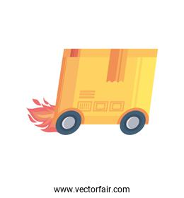delivery box with wheels and fire on white background