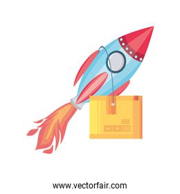 rocket with delivery box on white background