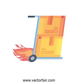 box transport trolley on fire on white background