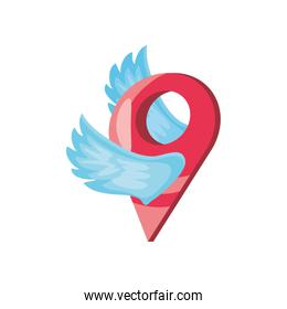 winged map tag on white background