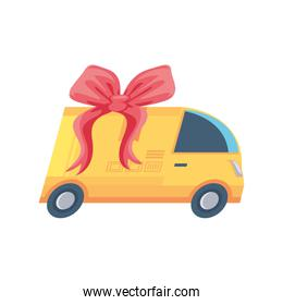 delivery vehicle with gift ribbon on white background