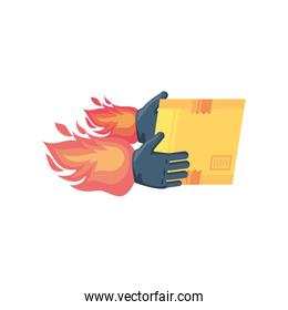 delivery box with hands on fire on white background
