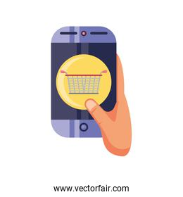 hand holding smartphone on white background, online shopping