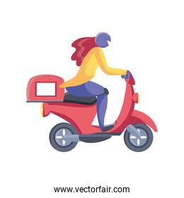 woman in motorcycle service of fast and free transport over white