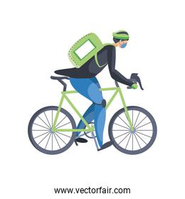man in bicycle service of fast and free transport