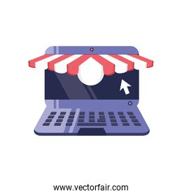 open laptop with tent on white background