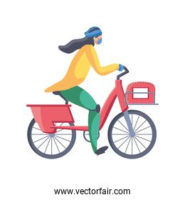 woman in bicycle service of fast and free transport