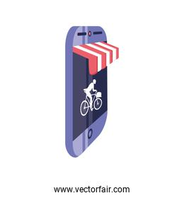 smartphone screen with striped tent on white background