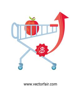 market trolley with apple on white background