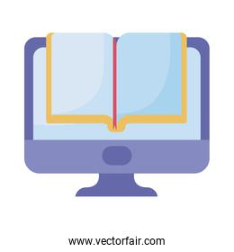 desktop computer with book on white background