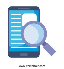 smartphone with magnifying glass on white background