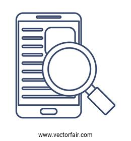 smartphone with magnifying glass , line style icon